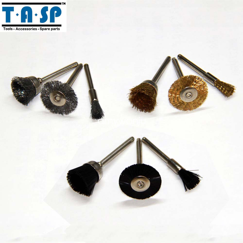 "TASP 9PC Dremel Rotary Plastic Wire Polishing Brushes Wheels Set with 1//8/"" Shank"