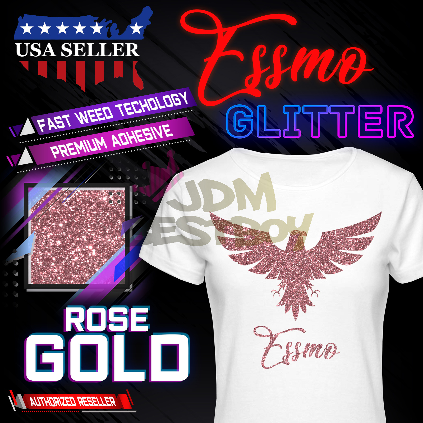 "Rose Gold Glitter Heat Transfer Vinyl HTV T-Shirt 20/"" Iron On Heat Press DG25"