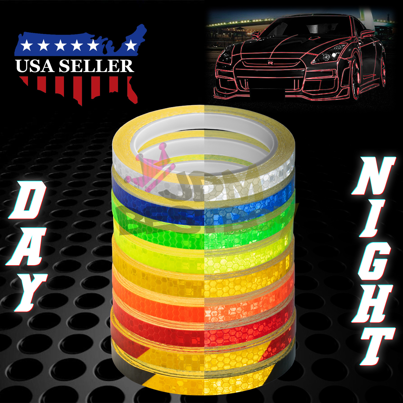 Rainbow Reflective Tape Safety Self Adhesive Striping Sticker 150FT Roll 1Cm