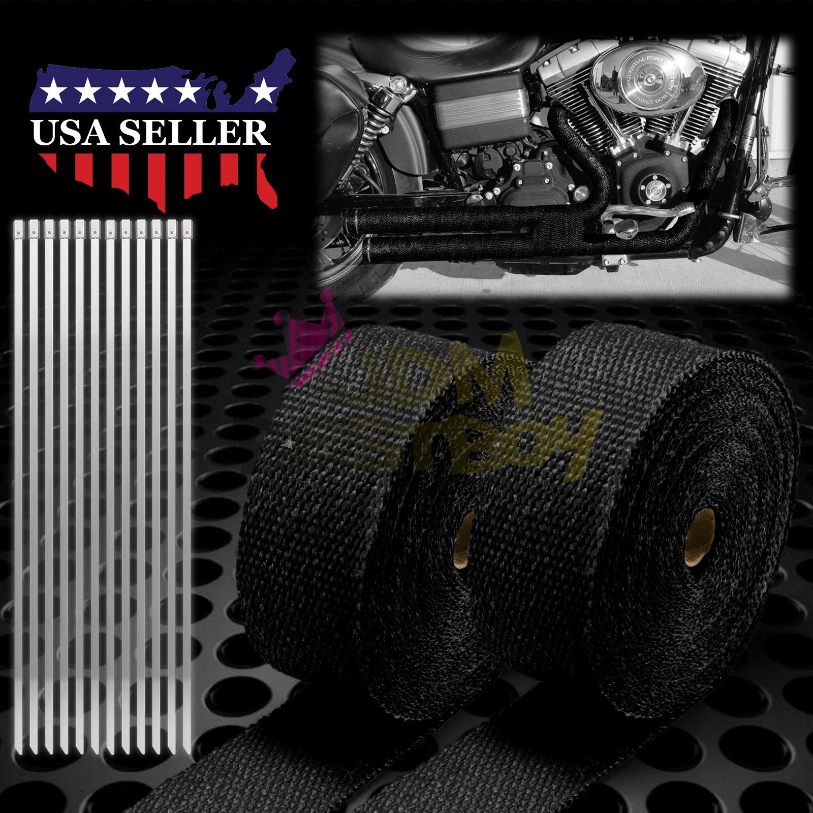 """2 Roll x 2/"""" 50FT Green Exhaust Wrap Header Manifold Fiberglass Heat Wrap Tape"""