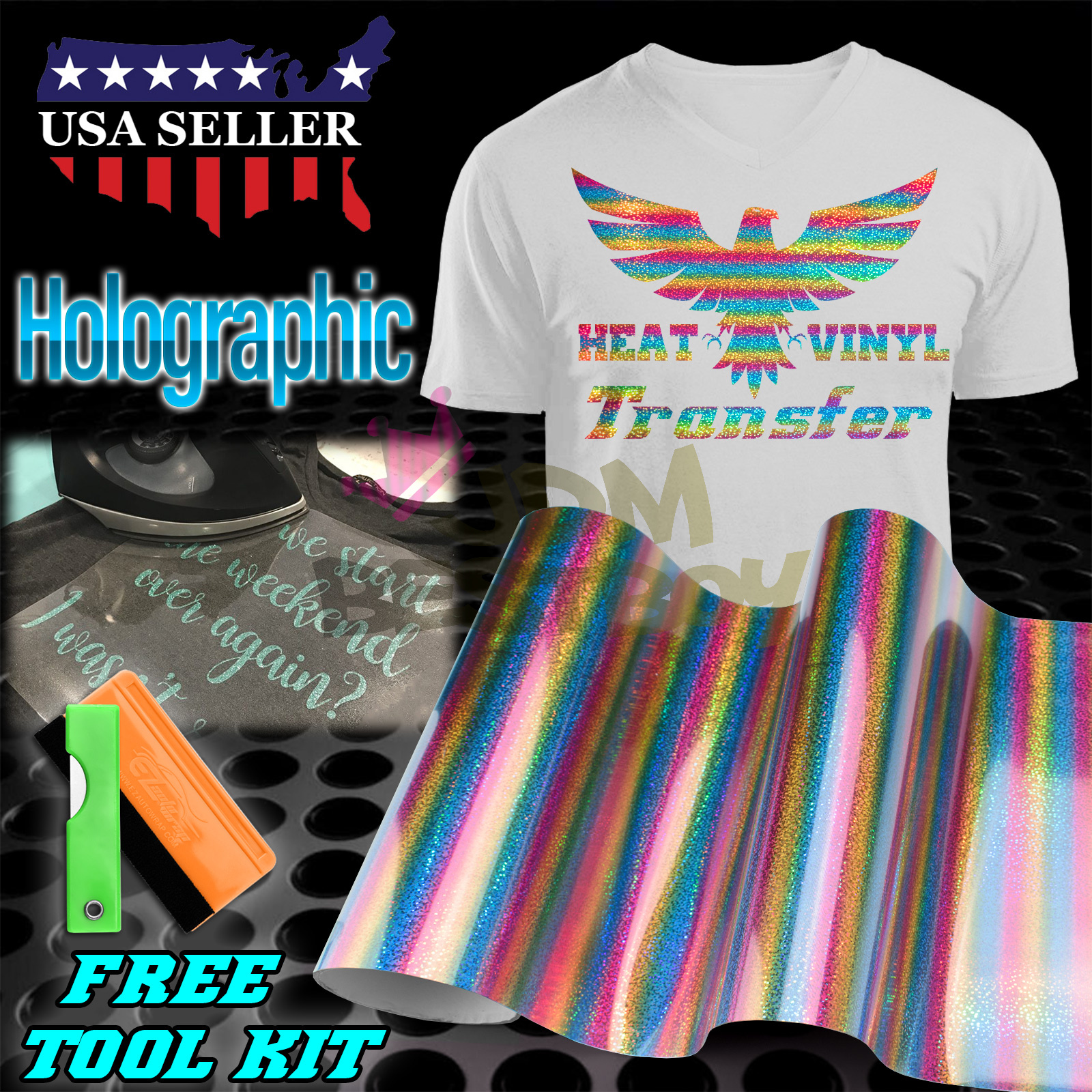 T-Shirt, Heat Press GLITTER Heat Transfer Vinyl  HTV 20 inches