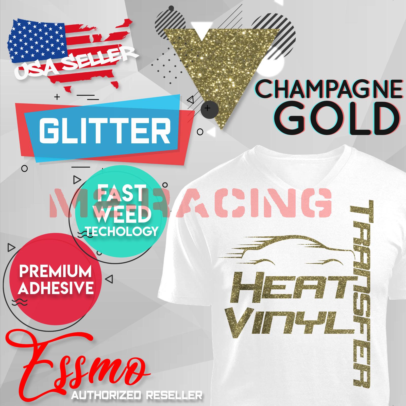 Yellow Gold Glitter Heat Transfer Vinyl HTV T-Shirt 20Iron On Heat Press DG02