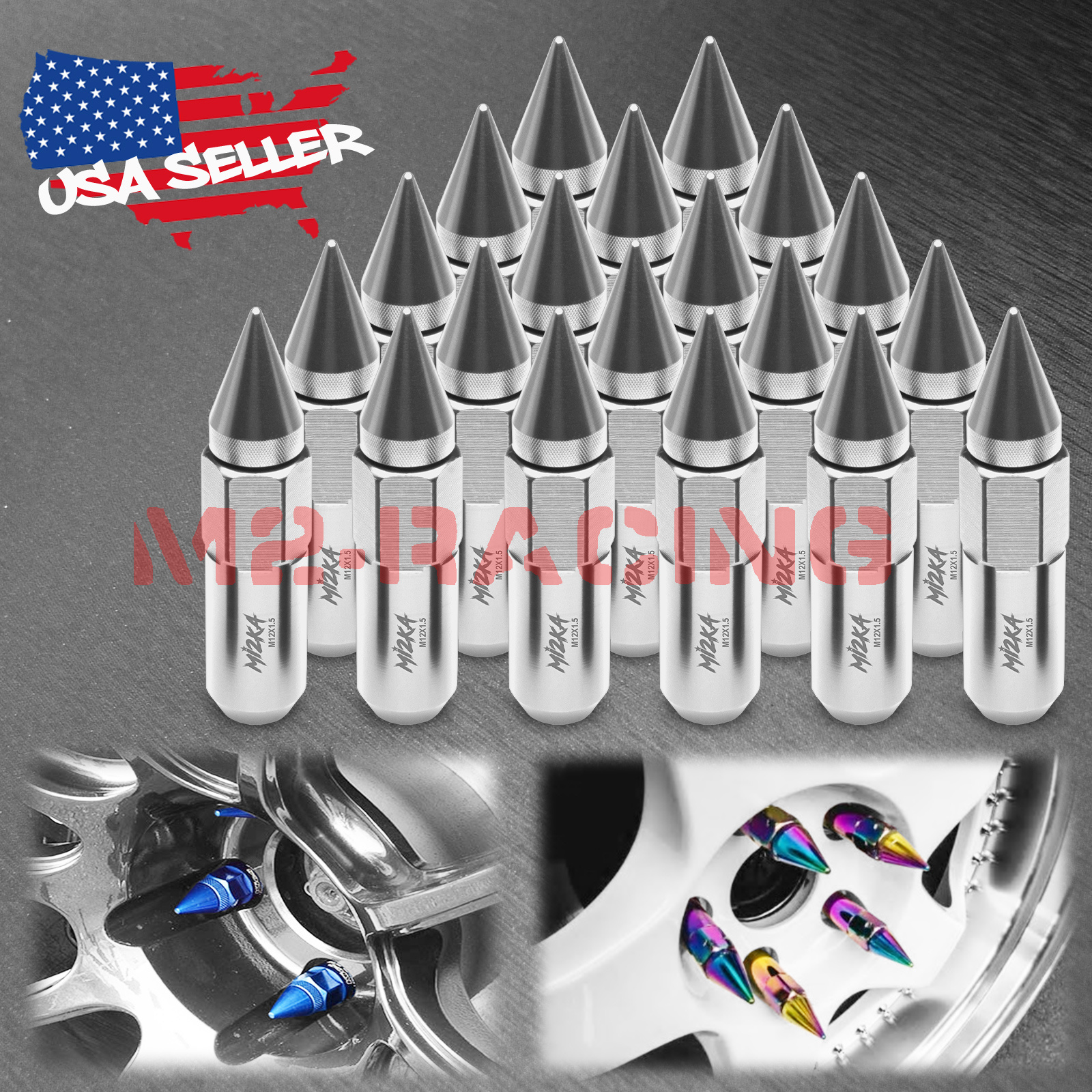 Purple 20 PCS M12X1.5mm Lug Nuts Spiked Extended Tuner Aluminum Wheels Rims Cap