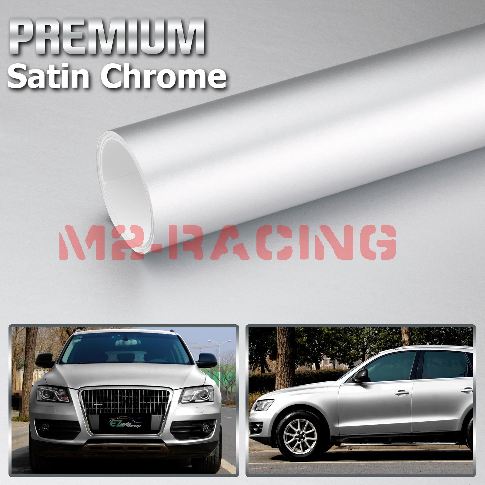 "4/""x8/"" Silver Satin Chrome Matte Metallic Vinyl Wrap Sticker Air Release"