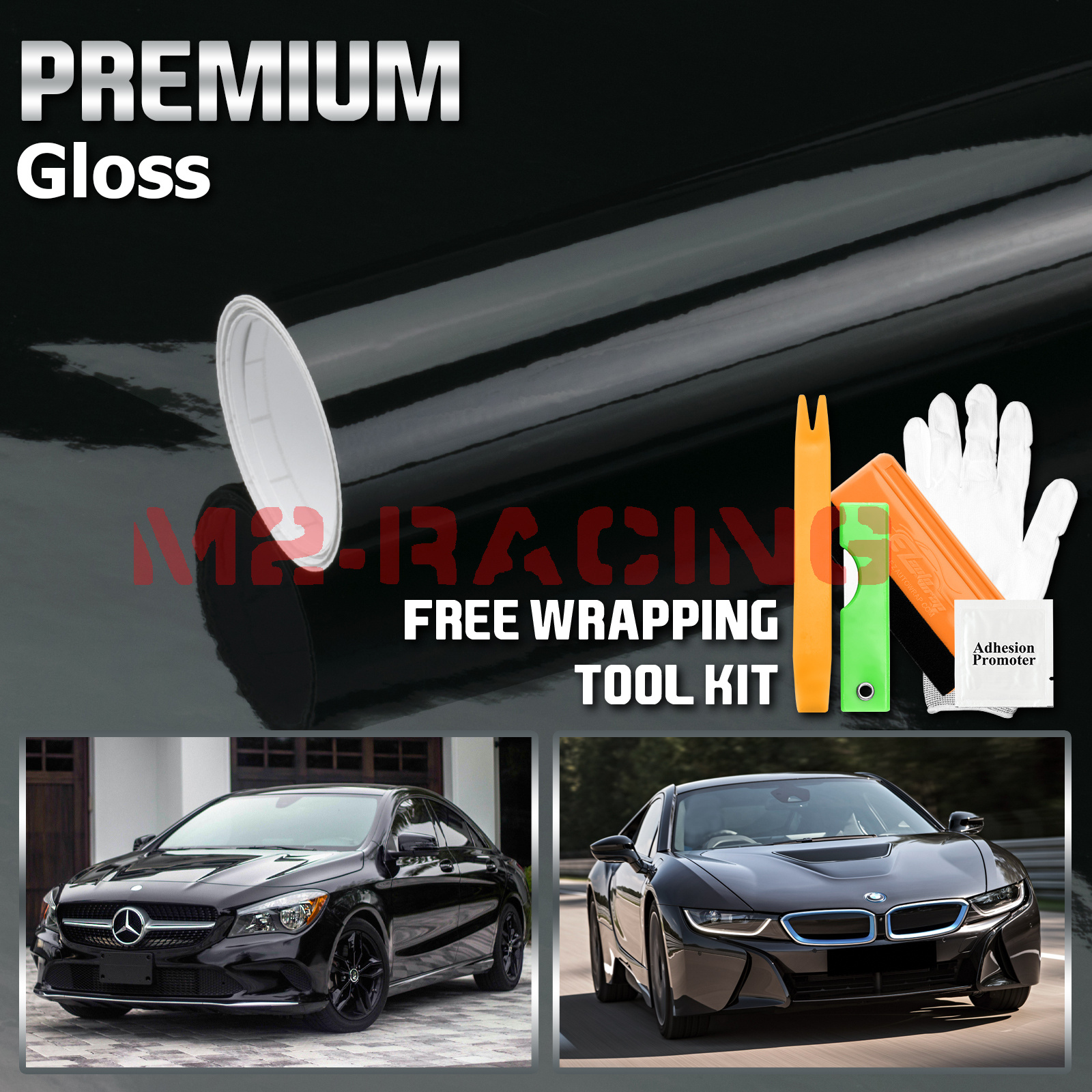 5FTx10FT Gloss Glossy Black Vinyl Wrap Sticker Decal Film Air Release DIY Sheet