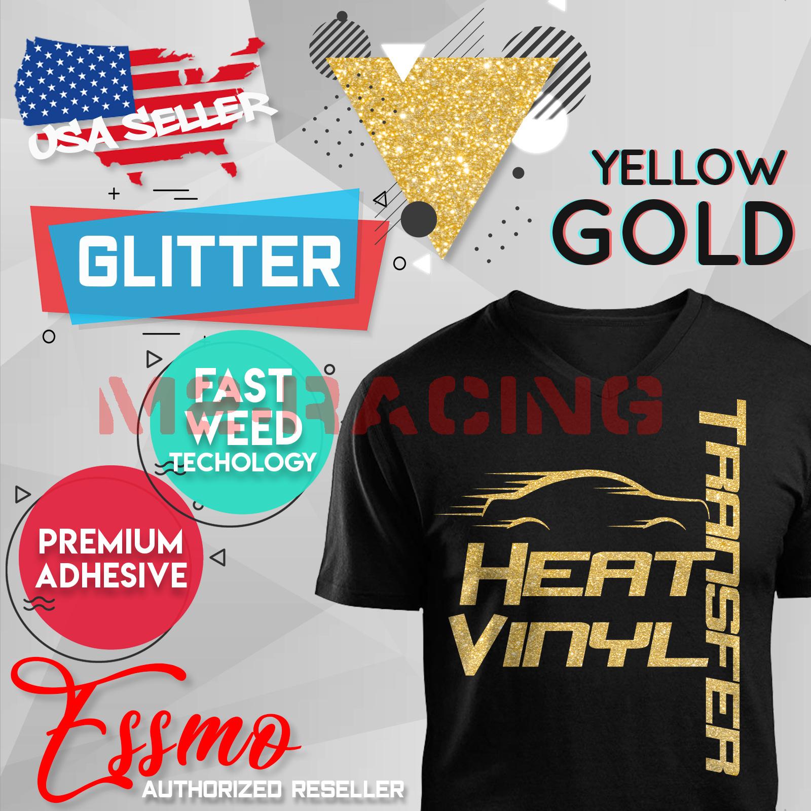 "Yellow Gold Glitter Heat Transfer Vinyl HTV T-Shirt 20/"" Iron On Heat Press DG02"