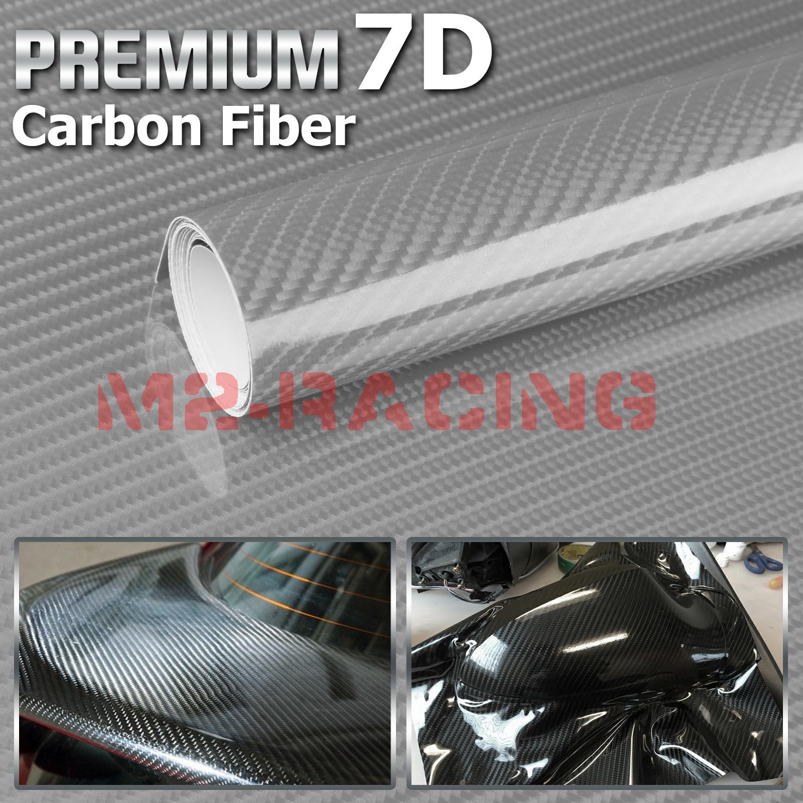 *Premium 7D White High Gloss Carbon Fiber Vinyl Wrap Bubble Free Air Release