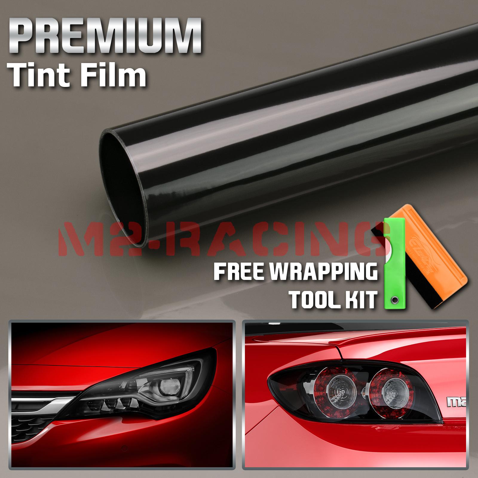 "*12/""x24/"" Cateye Style Light Black Smoke Tint Headlight Taillight Fog Light Film"