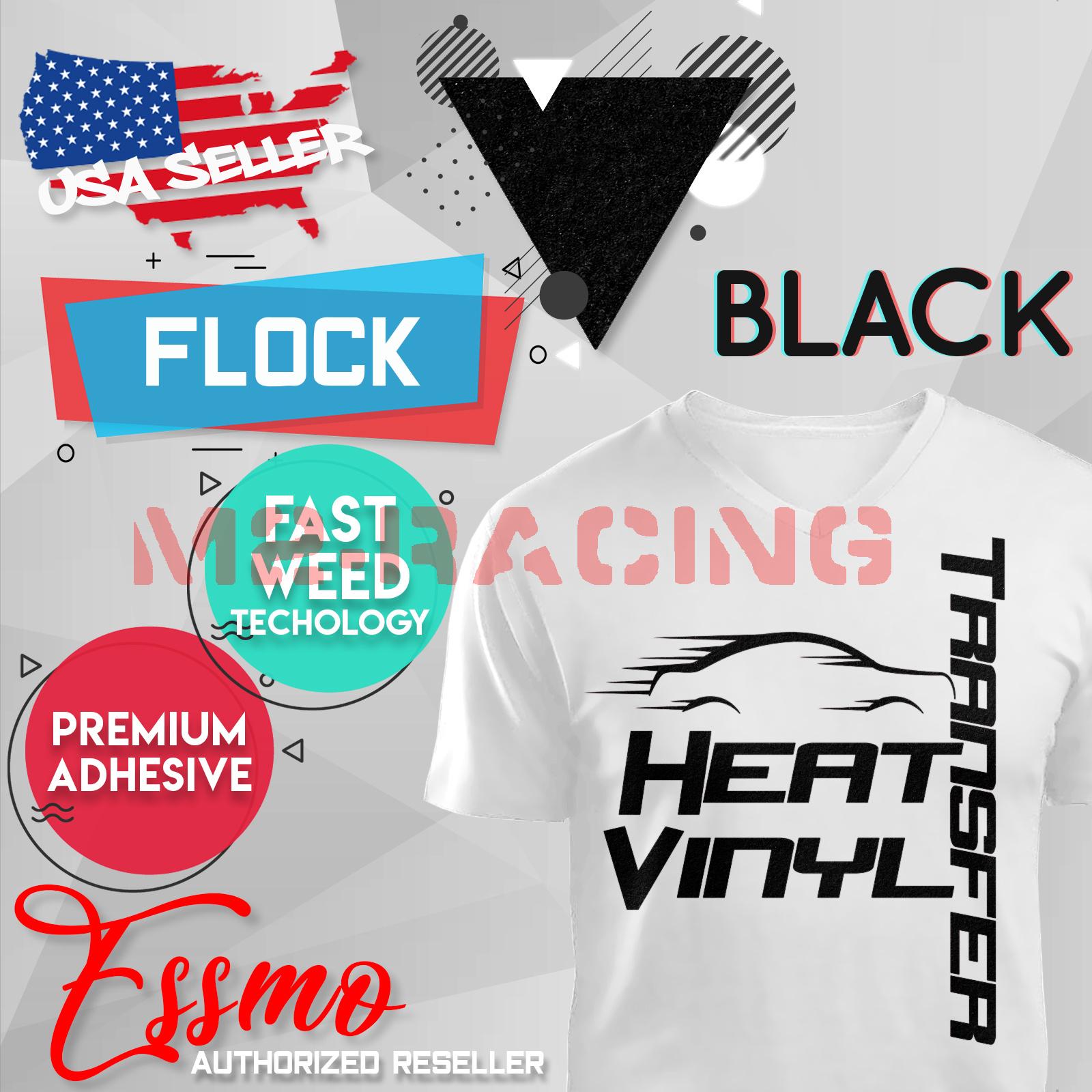 "Black Flock Heat Transfer Vinyl HTV T-Shirt 20/"" Roll Iron On Heat Press"
