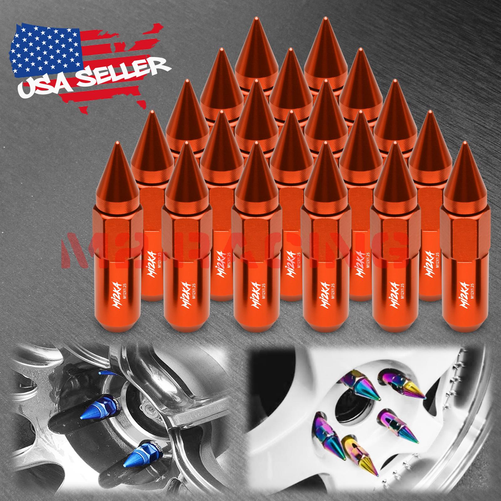 Orange 20 PCS M12X1.25 Lug Nuts Extended Tuner Aluminum Wheels Rims Cap WN02