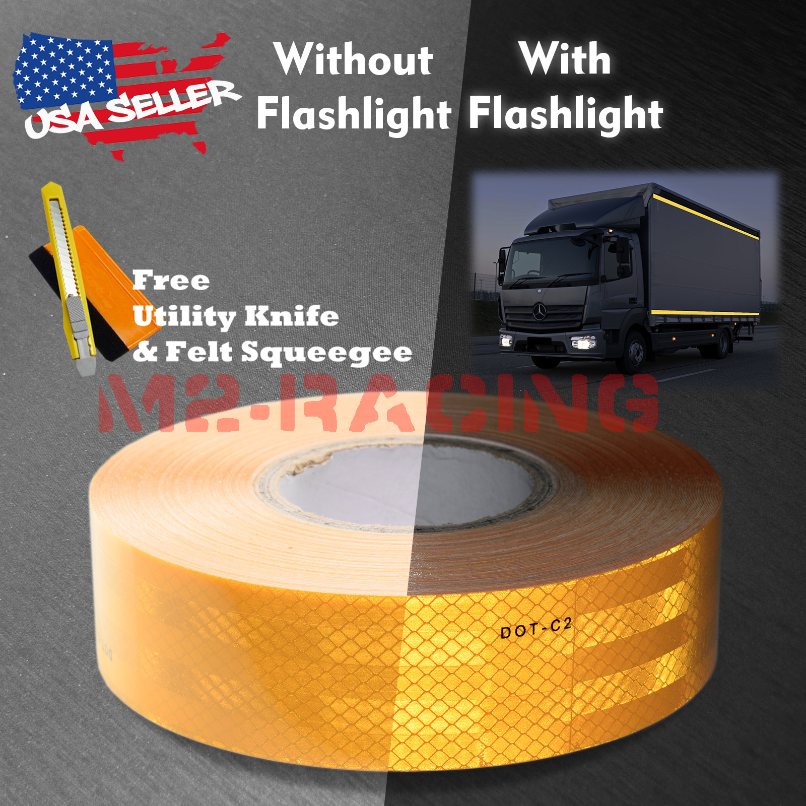 "*Neon Yellow 2/""x150/' Reflective Safety Tape DOT-C2 Warning Trailer Conspicuity"