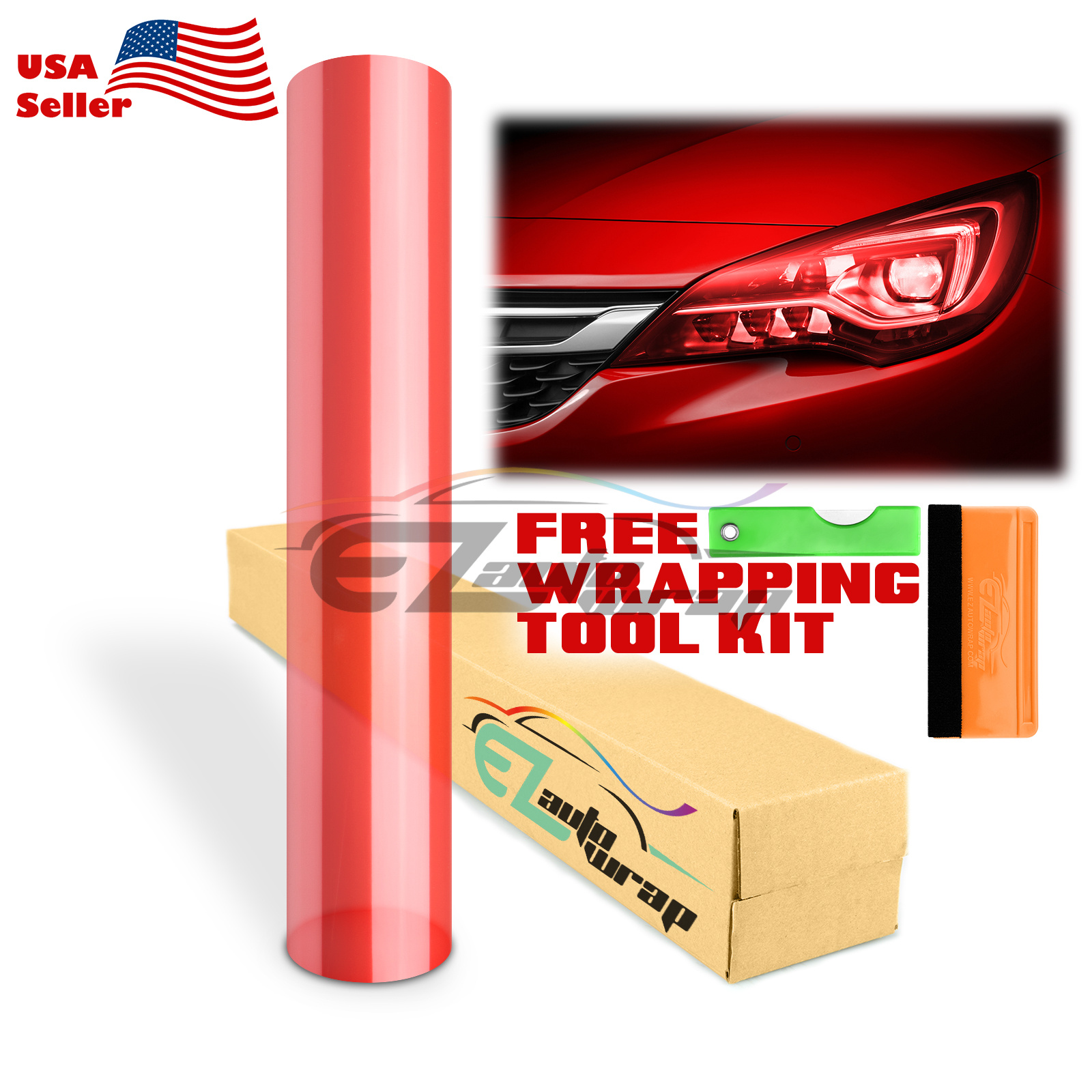 "*12/""x72/"" Glossy Hot Red Color Tint Headlights Fog Lights Taillight Vinyl Film"