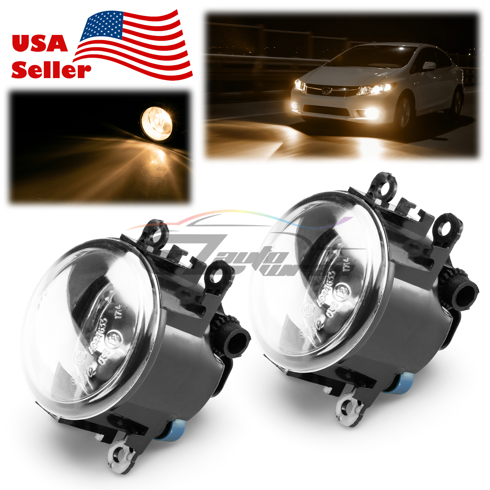 Pair Fog Light Clear Lens Upgrade OEM Quality Replacement