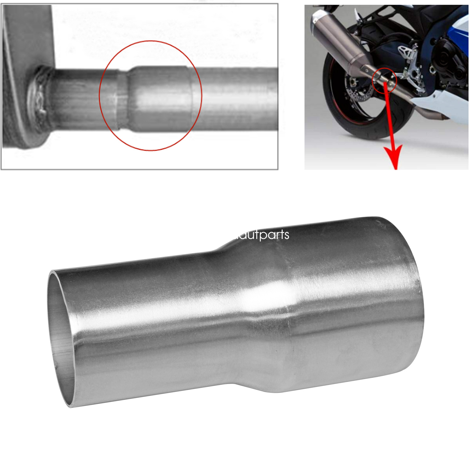 2.0 to 1.5 Motorcycle Exhaust Pipe Adapter Reducer Connector for Suzuki