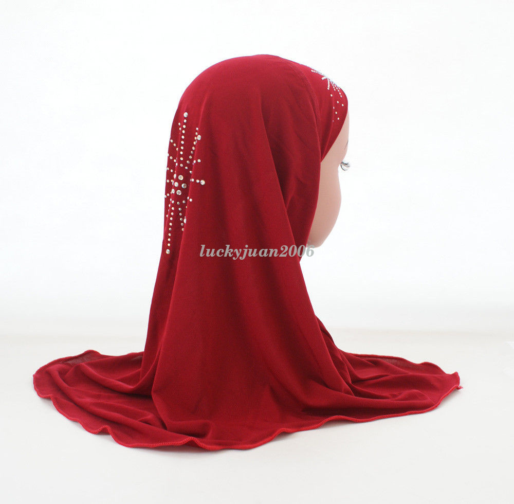Girls-Kids-Muslim-Hijab-Hats-Islamic-Arab-Scarf-Caps-Shawls-Amira-Headwear-3-8Y thumbnail 37