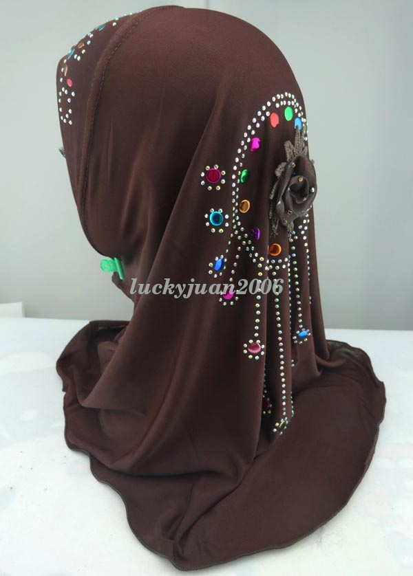 Girls-Kids-Muslim-Hijab-Hats-Islamic-Arab-Scarf-Caps-Shawls-Amira-Headwear-3-8Y thumbnail 58
