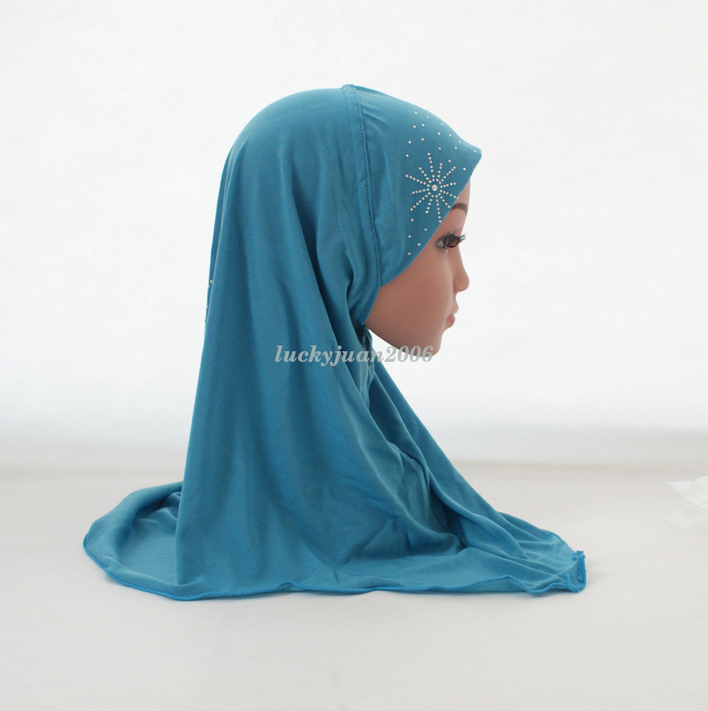 Girls-Kids-Muslim-Hijab-Hats-Islamic-Arab-Scarf-Caps-Shawls-Amira-Headwear-3-8Y thumbnail 31