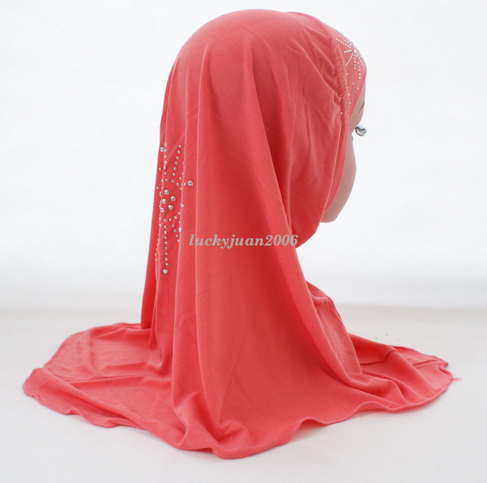 Girls-Kids-Muslim-Hijab-Hats-Islamic-Arab-Scarf-Caps-Shawls-Amira-Headwear-3-8Y thumbnail 34