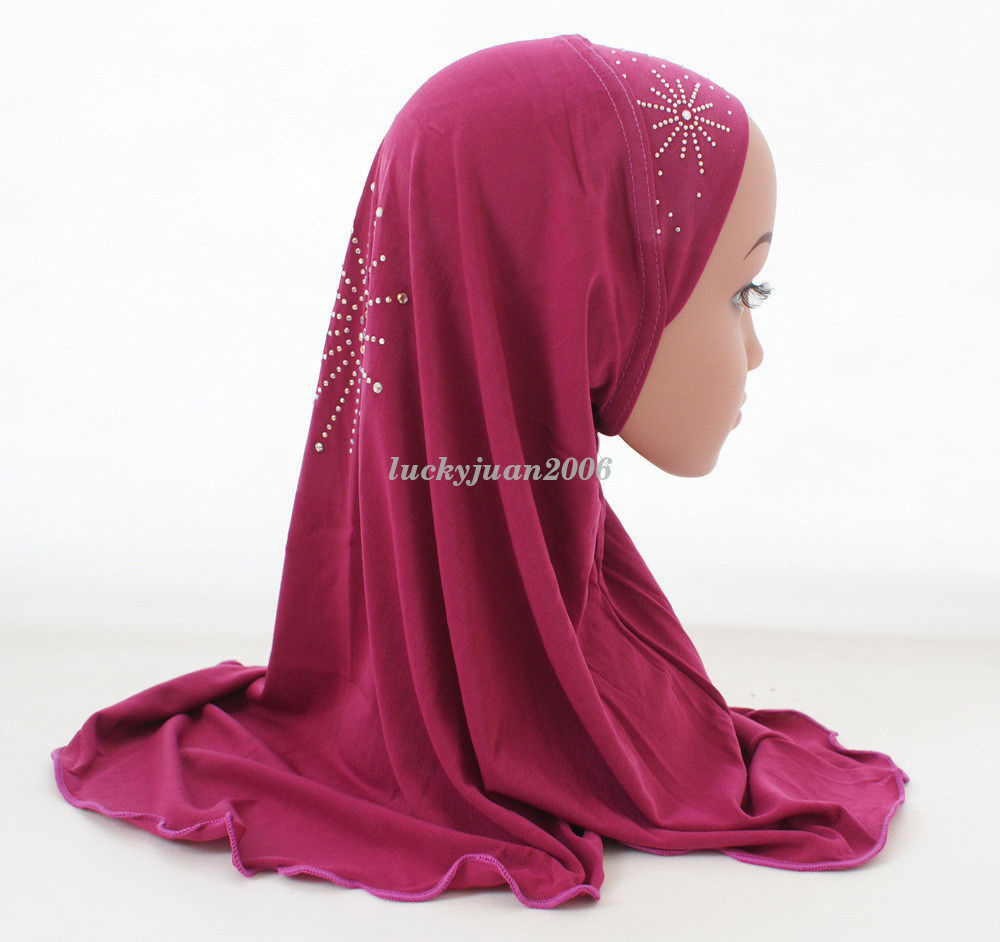 Girls-Kids-Muslim-Hijab-Hats-Islamic-Arab-Scarf-Caps-Shawls-Amira-Headwear-3-8Y thumbnail 52