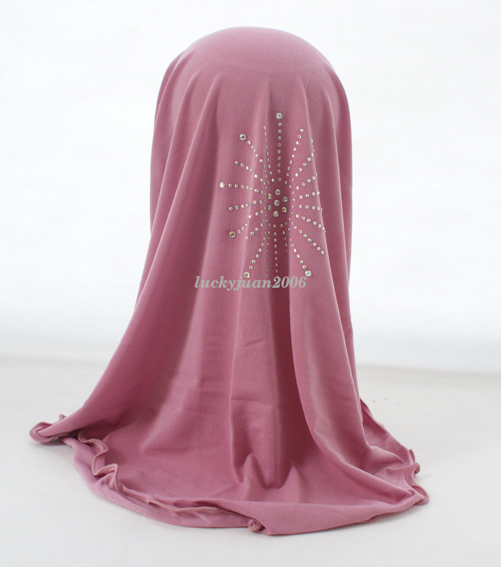 Girls-Kids-Muslim-Hijab-Hats-Islamic-Arab-Scarf-Caps-Shawls-Amira-Headwear-3-8Y thumbnail 50