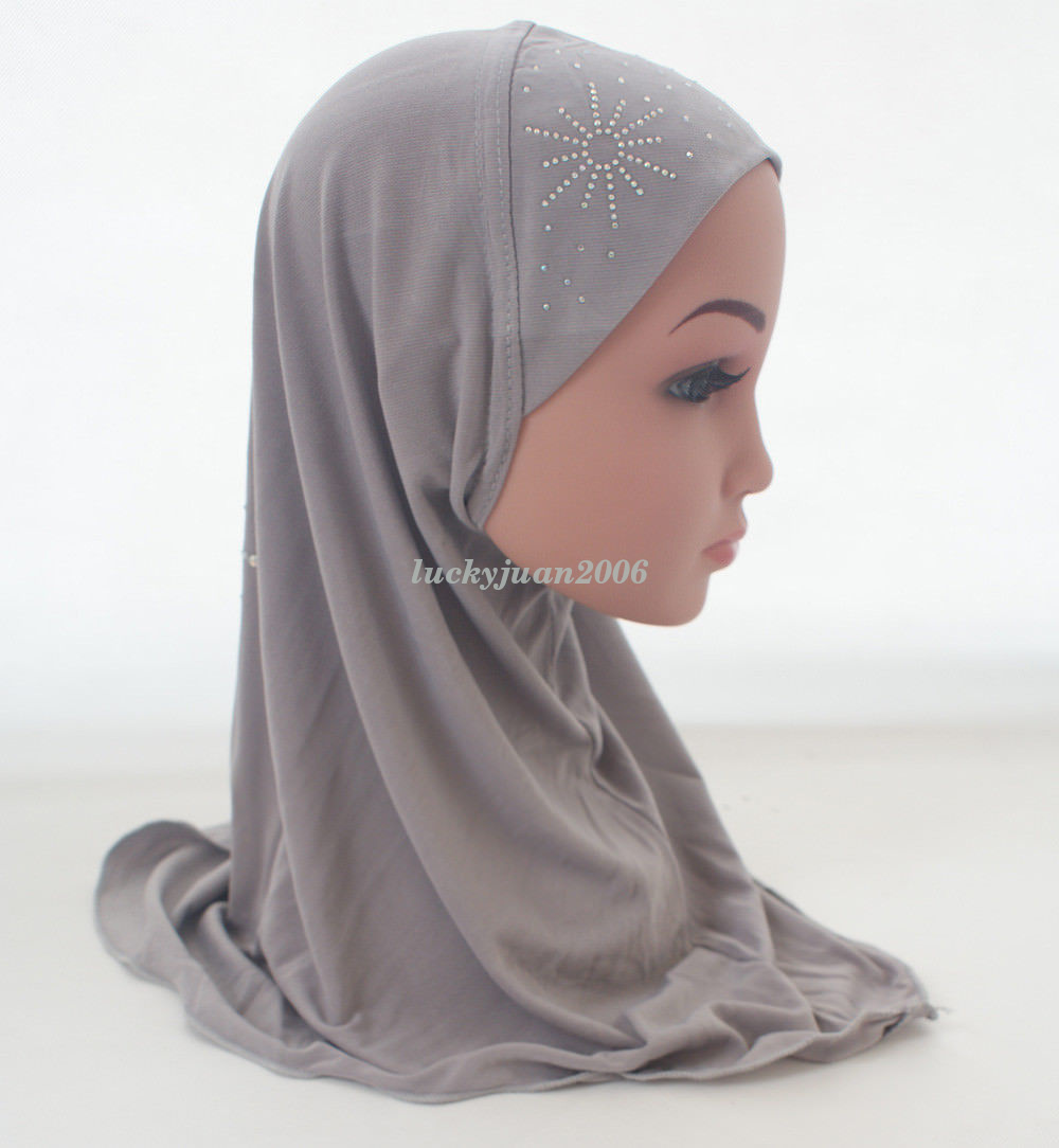 Girls-Kids-Muslim-Hijab-Hats-Islamic-Arab-Scarf-Caps-Shawls-Amira-Headwear-3-8Y thumbnail 55