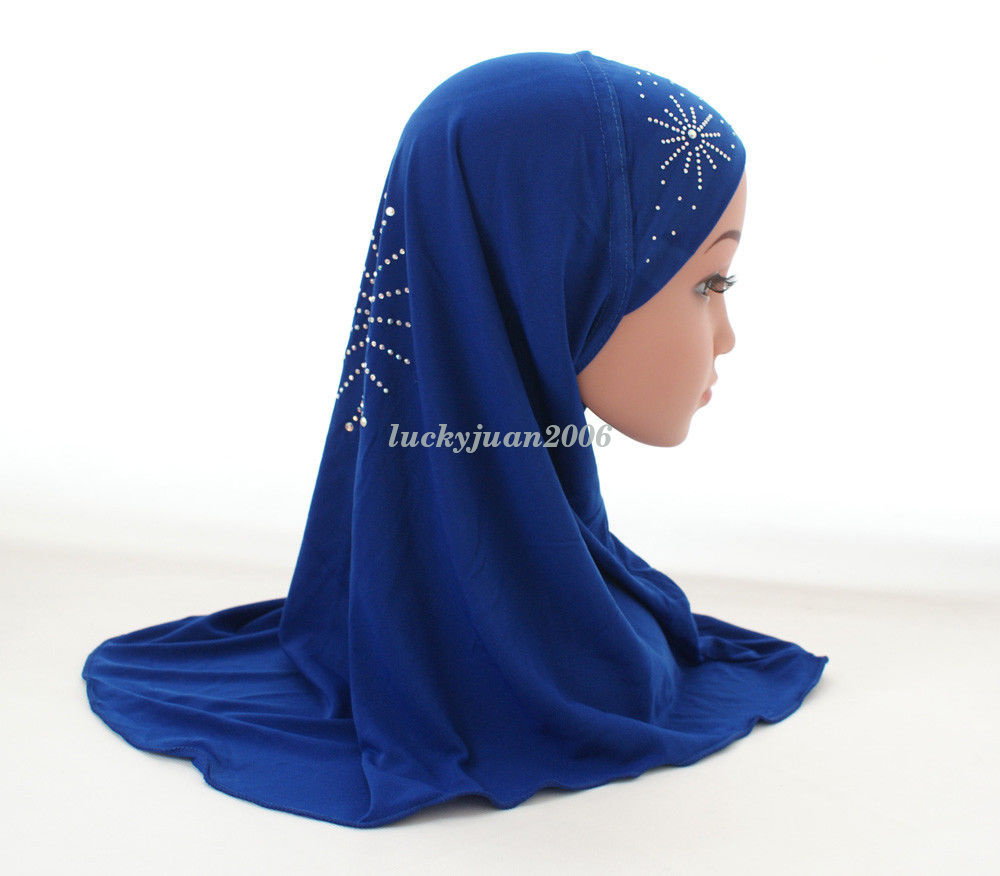 Girls-Kids-Muslim-Hijab-Hats-Islamic-Arab-Scarf-Caps-Shawls-Amira-Headwear-3-8Y thumbnail 17