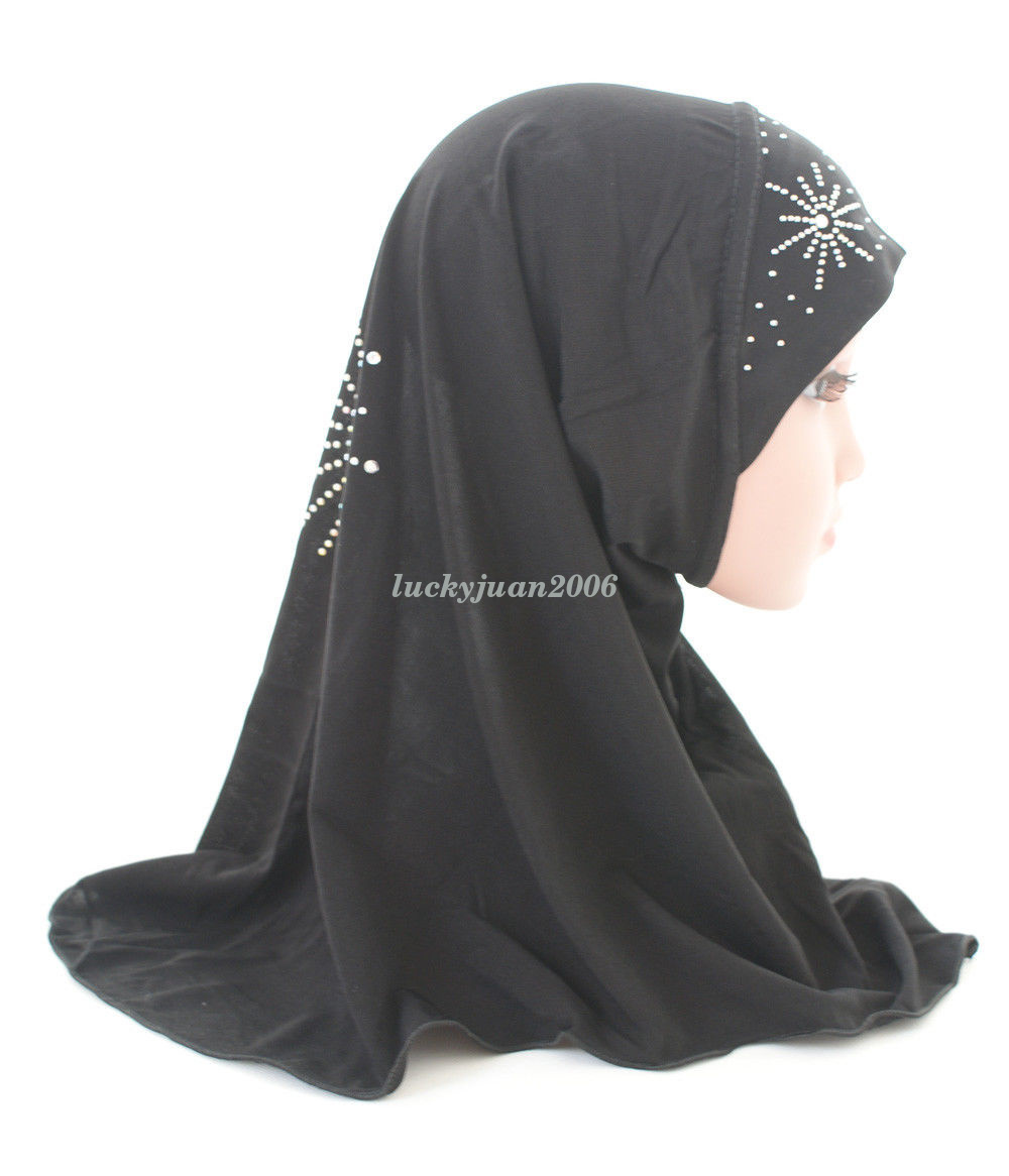 Girls-Kids-Muslim-Hijab-Hats-Islamic-Arab-Scarf-Caps-Shawls-Amira-Headwear-3-8Y thumbnail 43