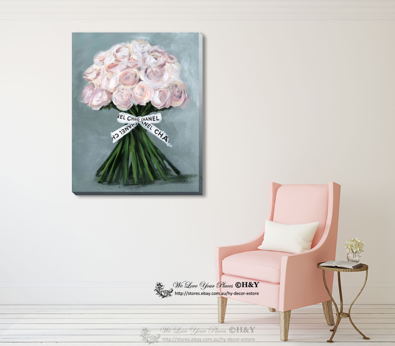 Rose Heart Stretched Canvas Print Framed Home Wall Art  Office Decor Painting