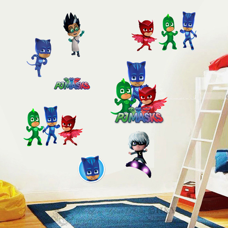 pj masks catboy owlette gekko cartoon boys wall stickers decals kids