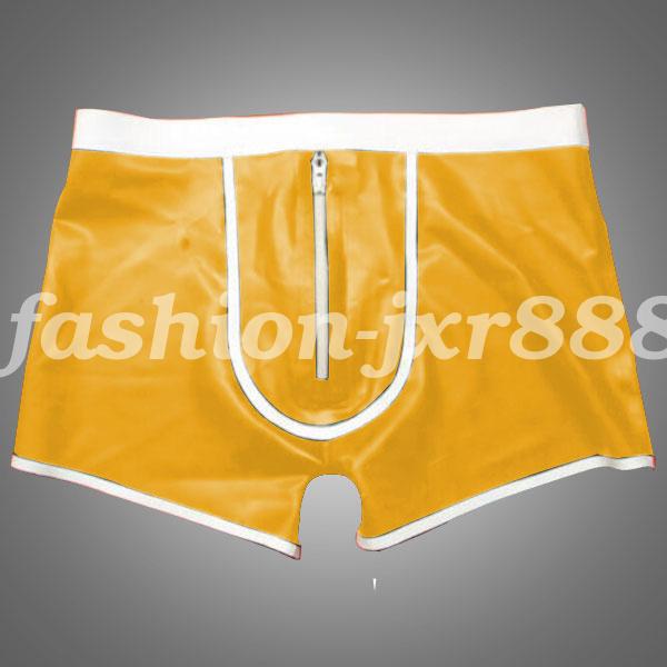 100/% Pure Latex Boxer Shorts Men White Waist Underwear 0.4mm Rubber Size S-XXL