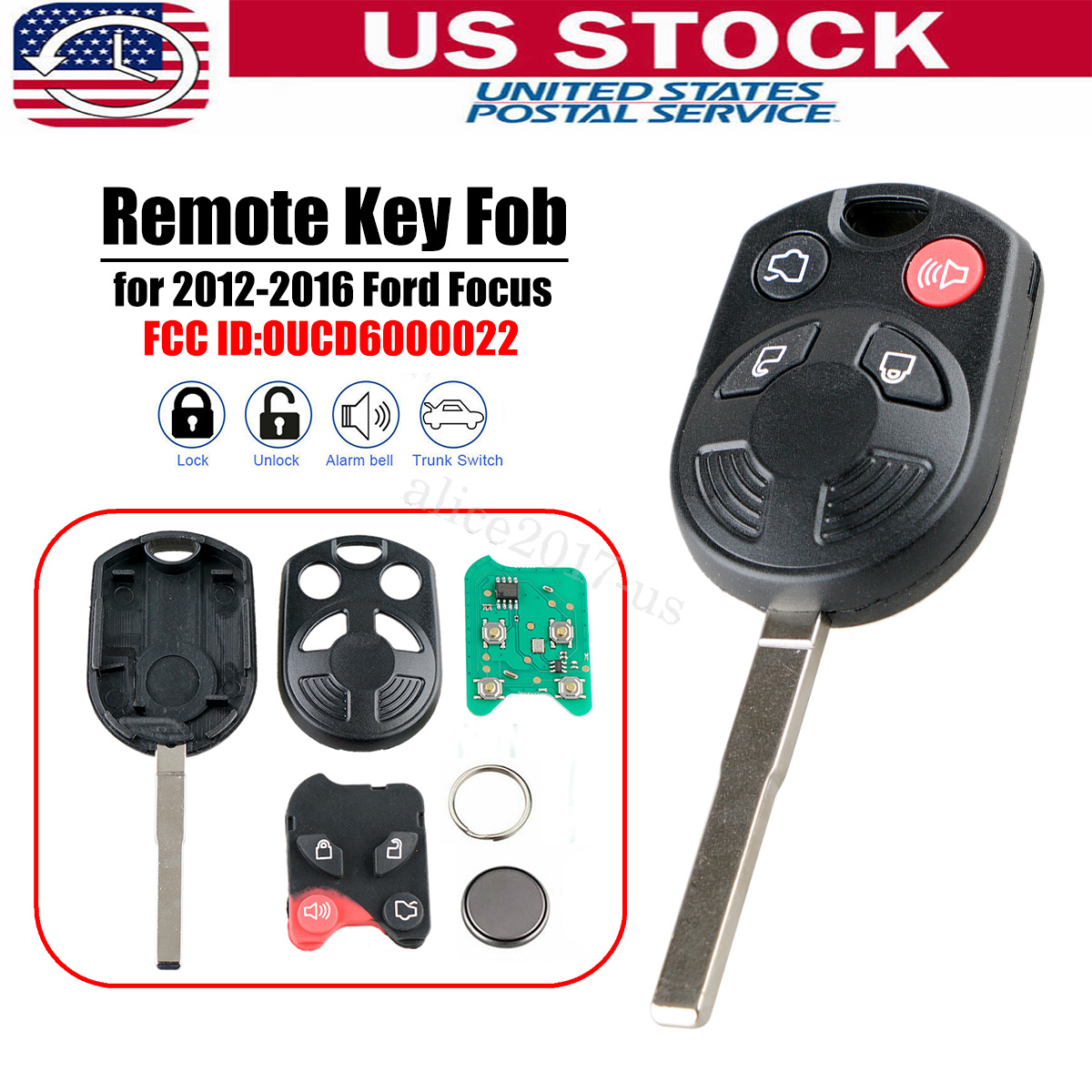 Discount Keyless Replacement Uncut Trunk Car Remote Fob Key Combo Compatible with OUCD6000022