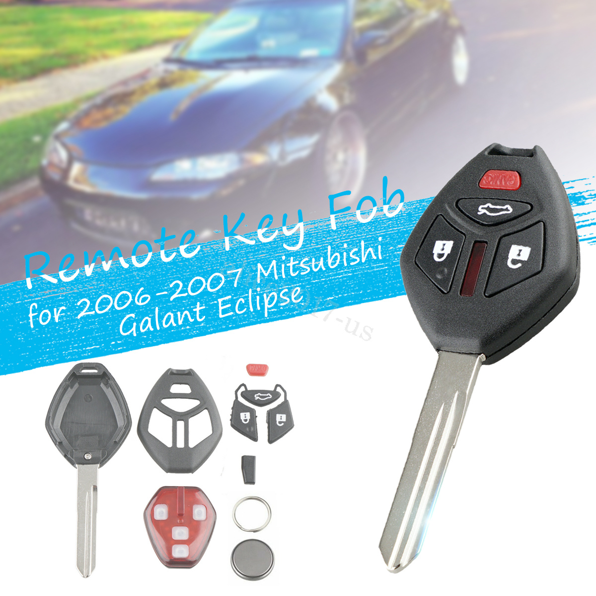Lot of 2 New Replacement Car Remote Key Entry Fob Control For Galant OUCG8D620MA