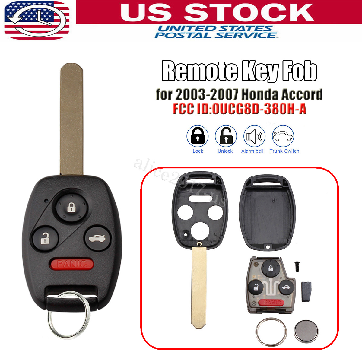Fit 2003 2004 2005 2006 2007 Honda Accord Remote Key Fobs OUCG8D-380H-A OEM