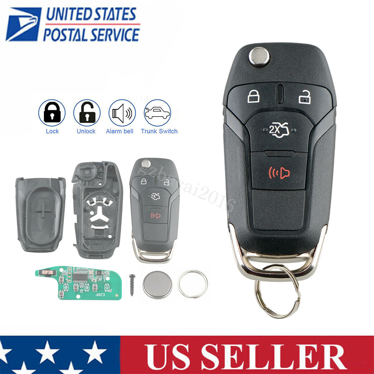 Car Key Fob Remote Case for Ford Fusion 2013 2014 2015 2016 Replaces 164-R7986 N5F-A08TAA 5924003 Keyless Entry Remote Control Shell