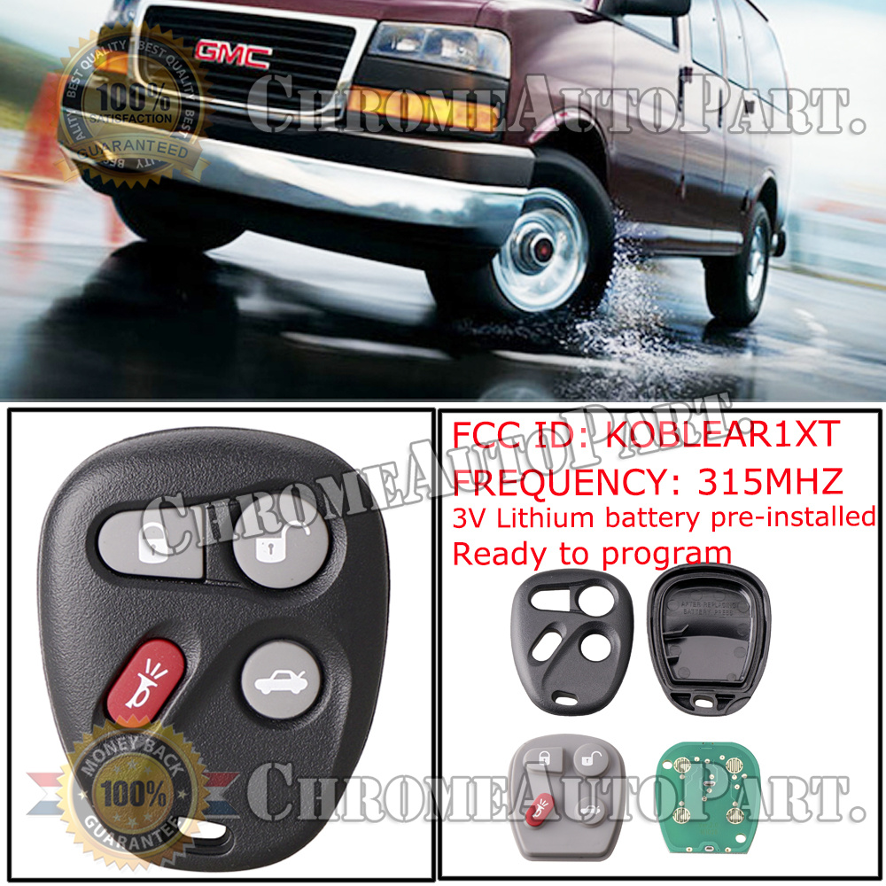Car Key Fob Keyless Entry Remote fits Chevy Corvette Malibu SSR//Pontiac Bonneville Grand Am//Buick Lesabre//Cadillac Deville Seville//Oldsmobile Alero Aurora KOBLEAR1XT, 25695954