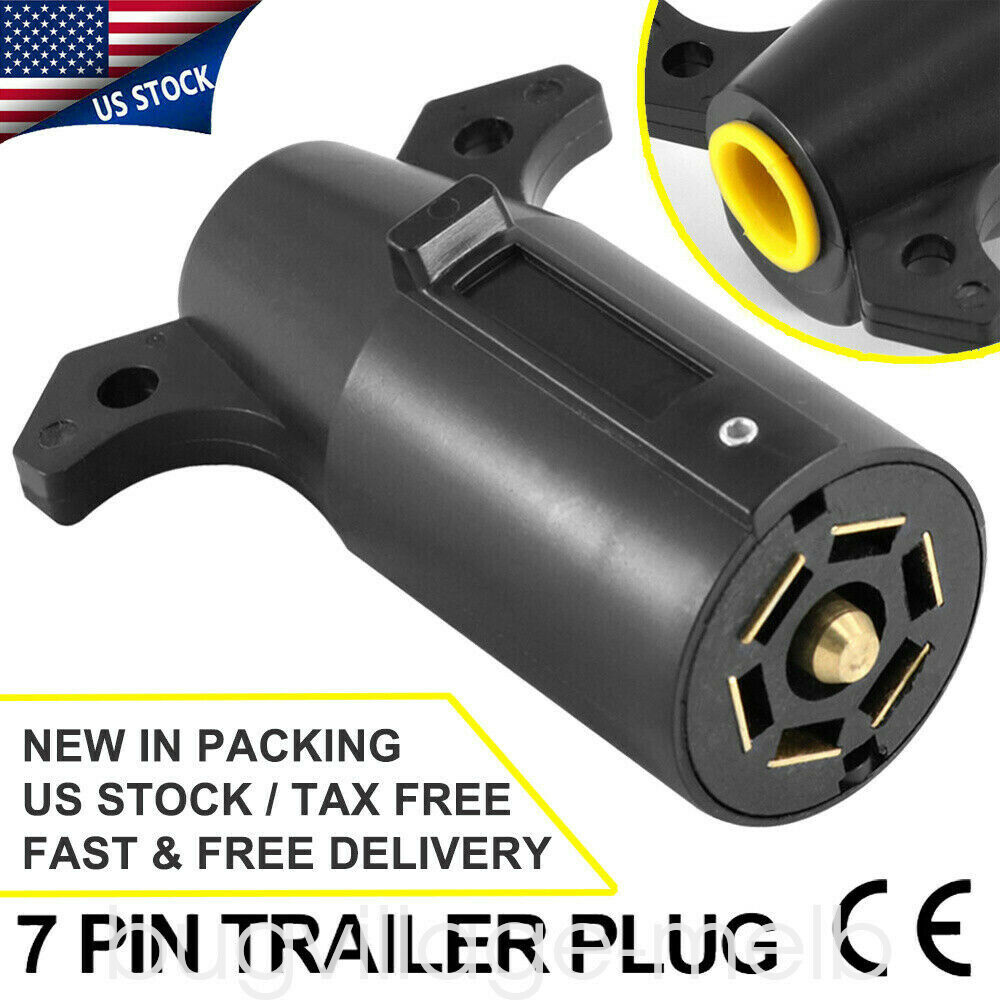 Rv Style 7 Way Round Light Plug Connector Trailer End 12v