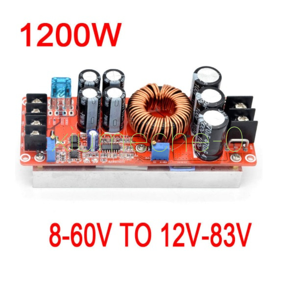 DC-DC 1200W 20A Adjustable Boost Step-Up Converter Power Module 8-60V TO 12-CE