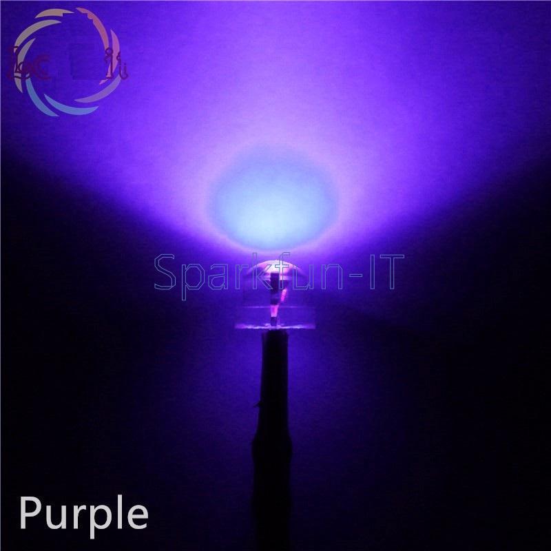 50PCS 5mm Straw Hat UV Purple Super-Bright LED Light Emitting Diode