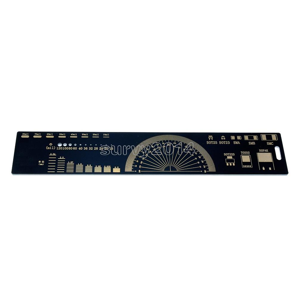 20cm Black Multifunctional PCB Ruler PCB Measuring Tool Angle Measure Meter