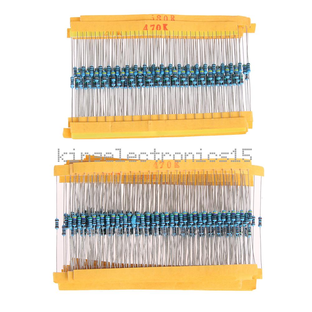 30 Values 1//4W Metal Film Resistors Resistance Assortment Kit Set 1/% 600Pcs