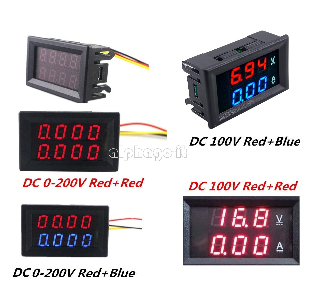 Digital Red LED Voltage Meter DC100V 10A Voltmeter Ammeter Blue+Red LED Amp Gut