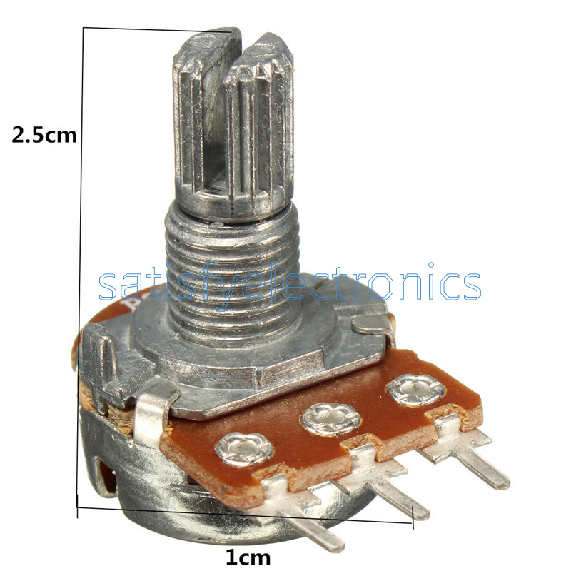 5Pcs B100K 100K Ohm 3 Pin Linear Rotary Potentiometer For Power Amplifier wm