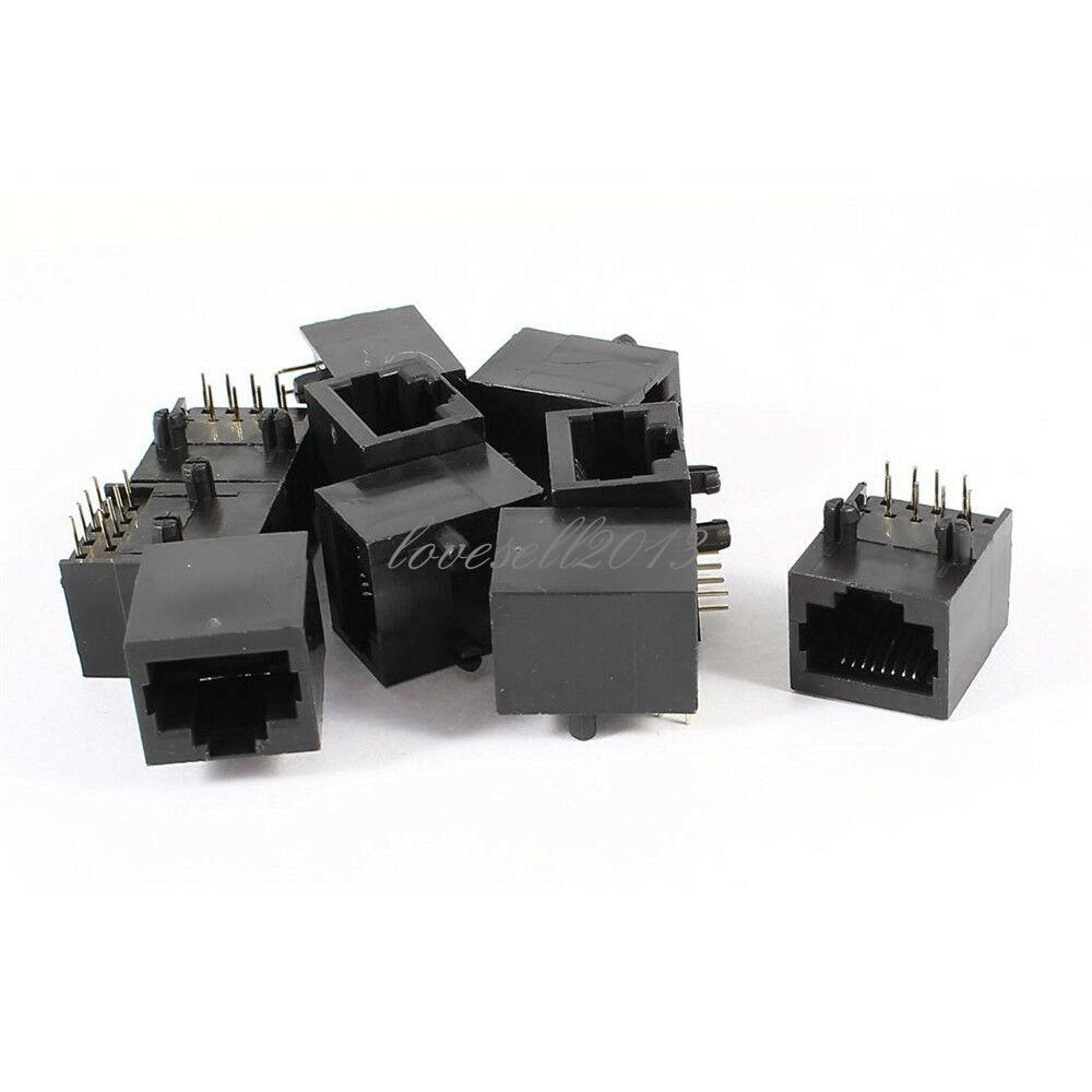 10PCS Black RJ45 8P8C Jack Modules PCB Mount Network Internet Connectors Top NEW