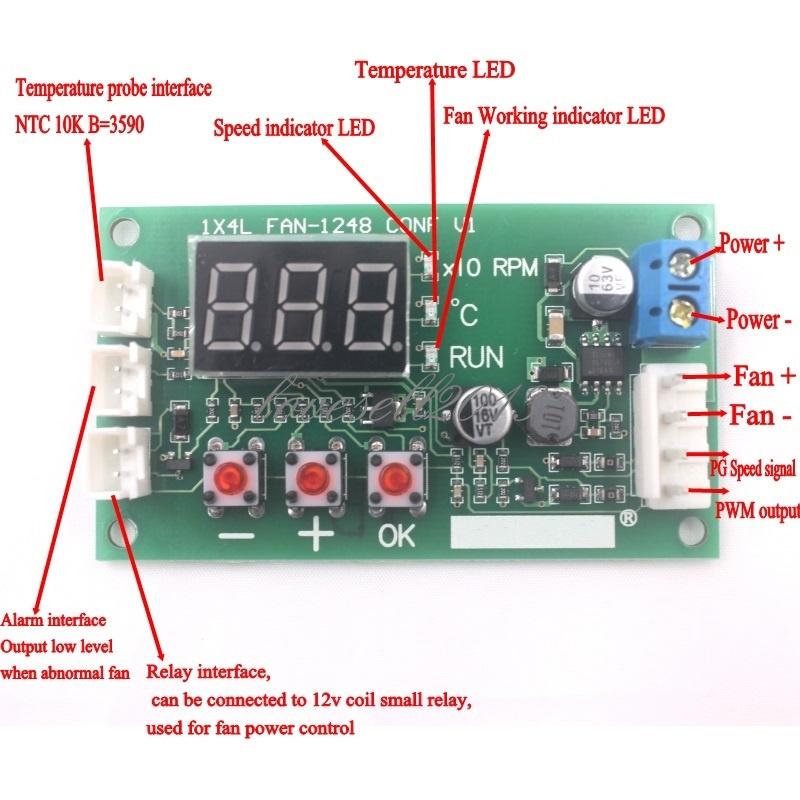 NEW DC 12-48V PWM Motor Fan Speed Controller governor temperature control EBM EC