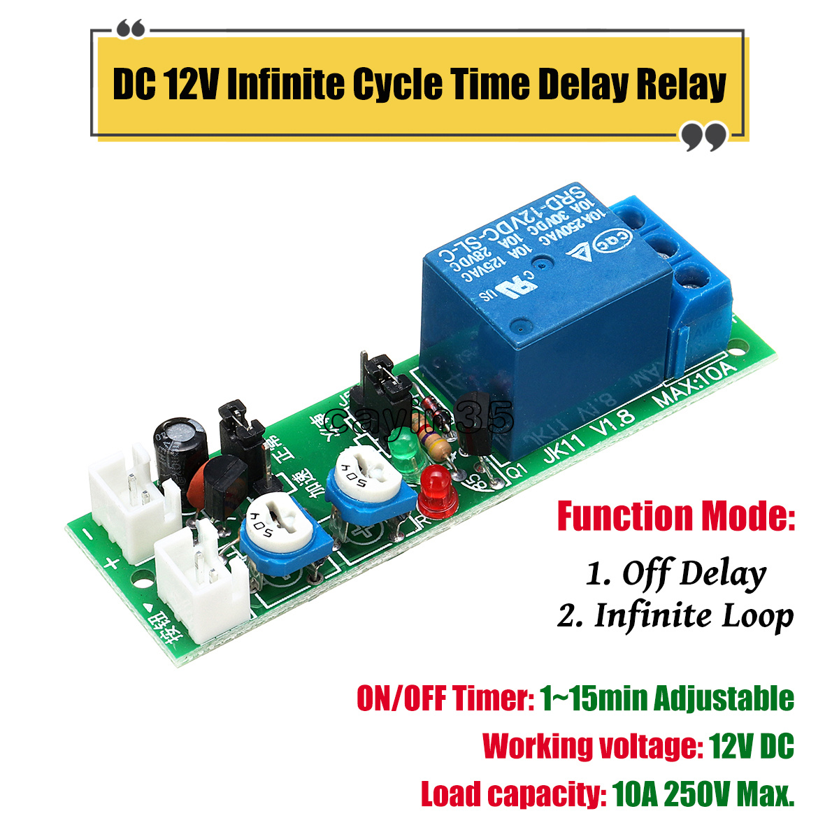 Dc 12v Infinite Cycle Loop Timer Delay Adjustable Time Relay Switch Function Module