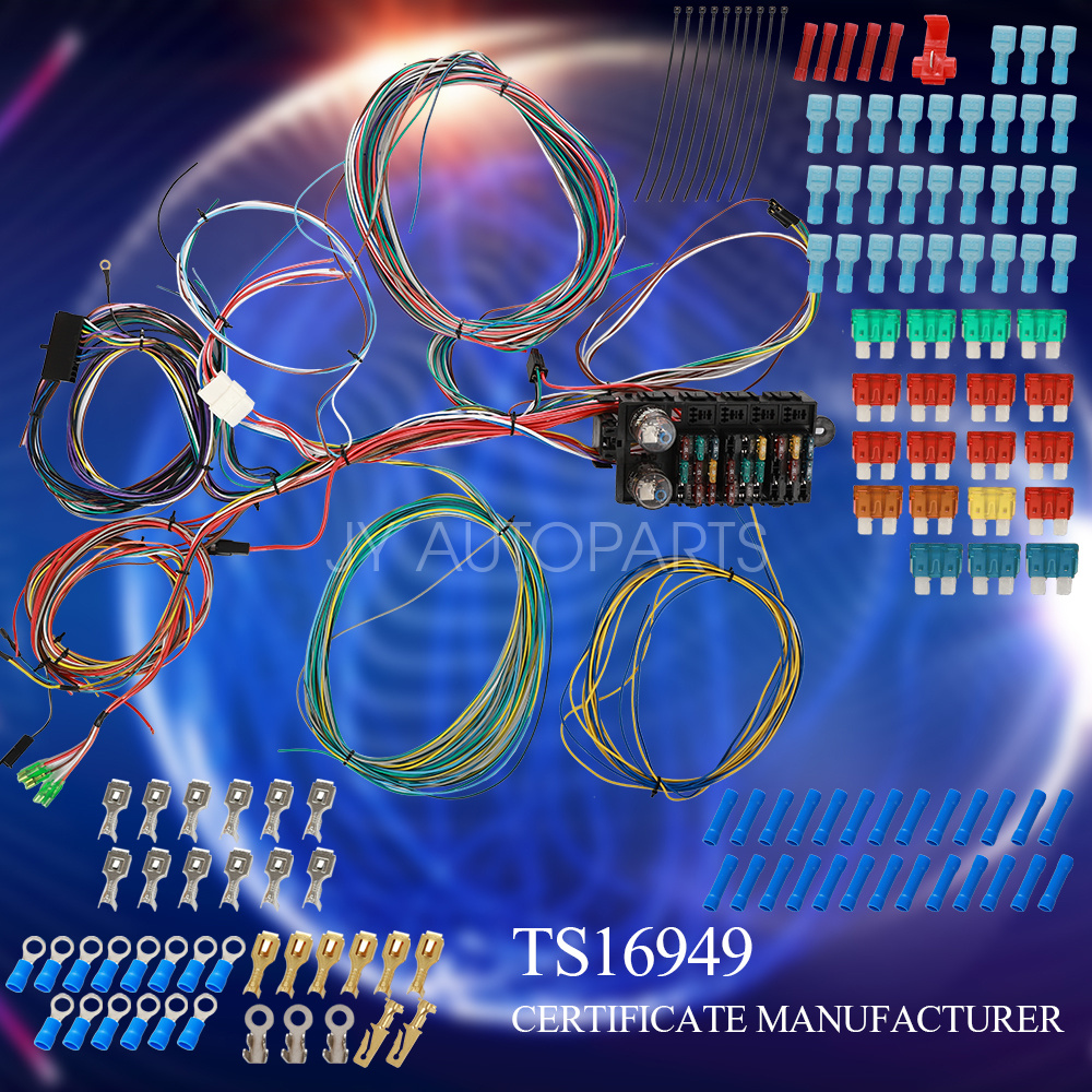 ay-autoparts Universal Extra Long Wires 21 Circuit Wiring Harness Hotrod Fit for GM Ford Mopar Chevy