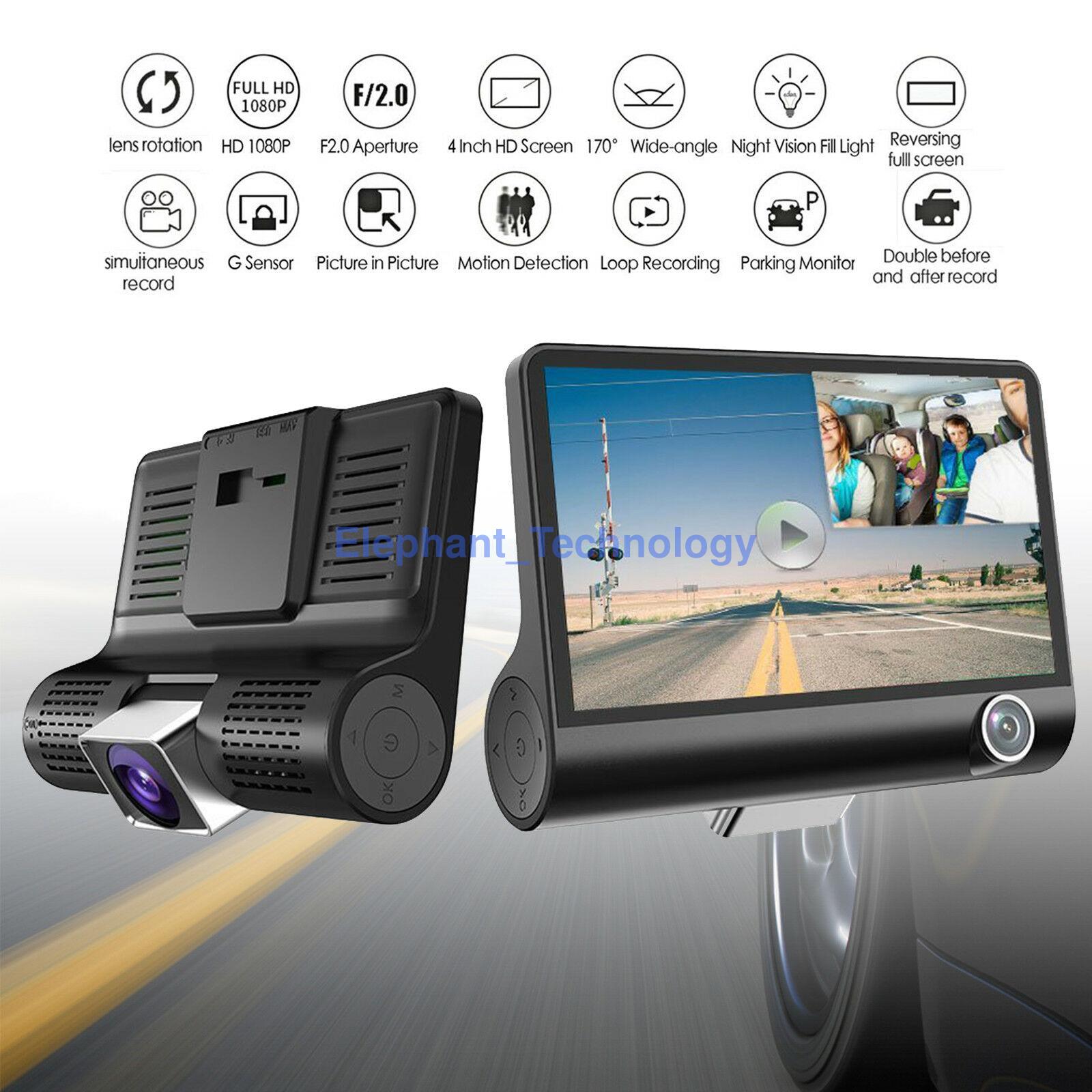 "4/"" HD 1080P 3 Lens Dash Cam Rear View Car DVR Camera 170° Parking Video Recorder"