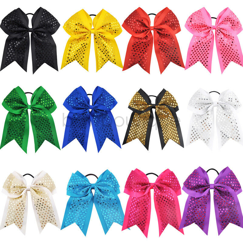 Girls Large Sequin Cheer Bows Elastic Hair Band Boutique Rope Ponytail Holder