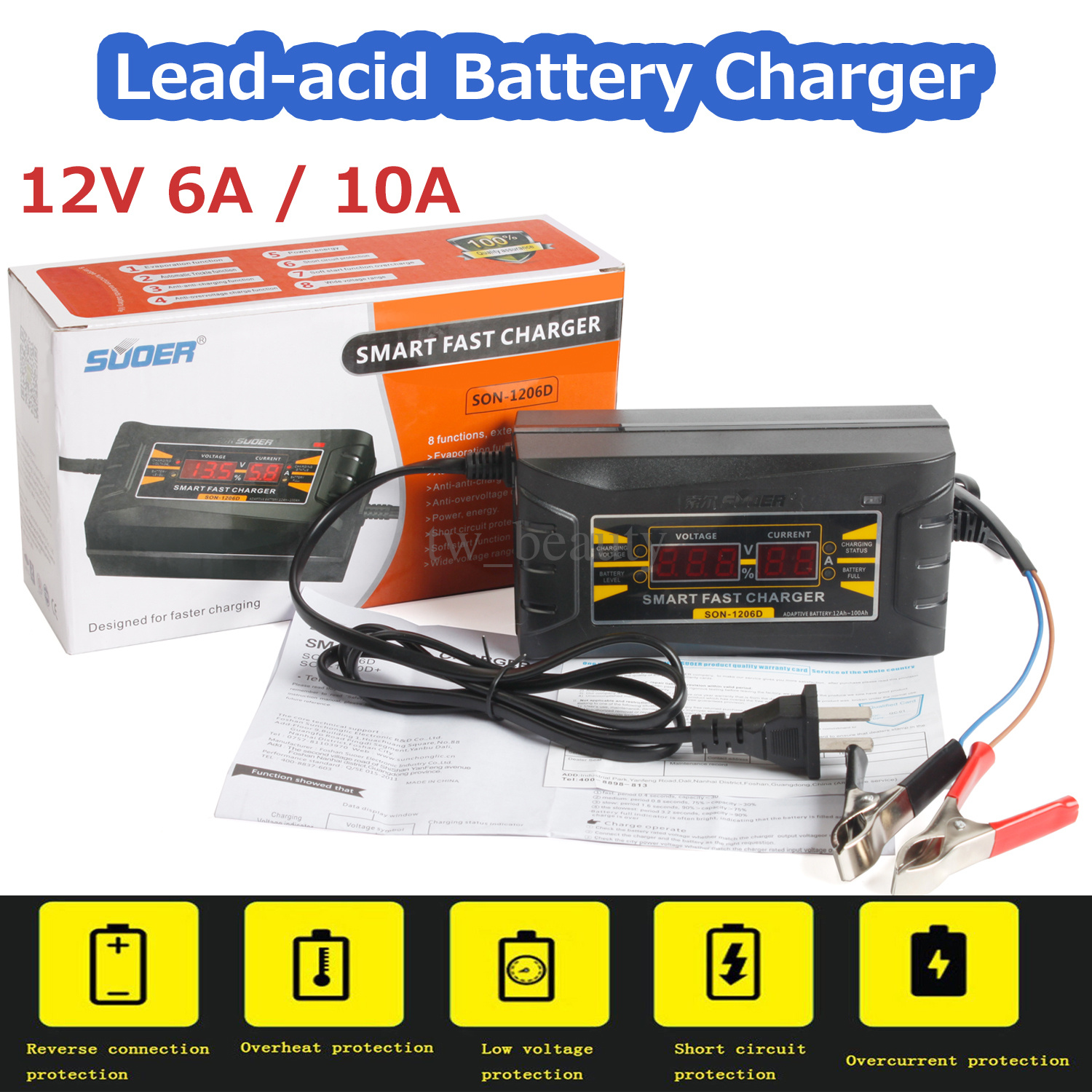 Details about 12V 6A10A Smart Fast Lead Acid Battery Charger For Car Motorcycle LCD 110V 240V