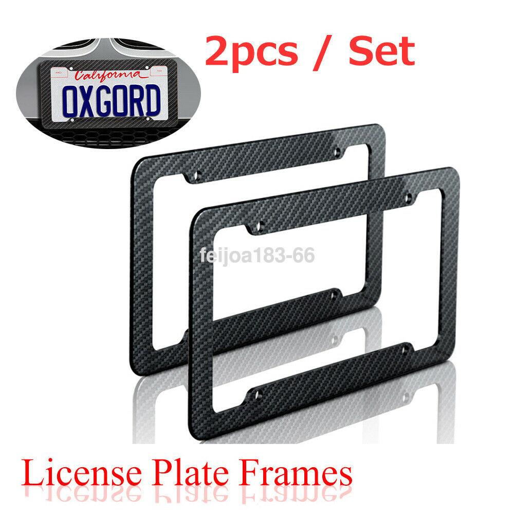 2X Universal US Standard Gloss Dark Red Carbon Fiber License Plate Frame Cover